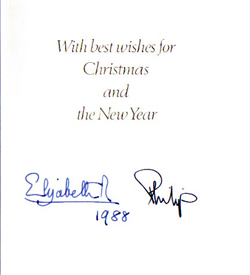 the queen mum and baby princess beatrice elizabeth mary of york daughter of hrh prince andrew beatrice was born august 8 1988 this card is auto pen - Christmas Card Signatures